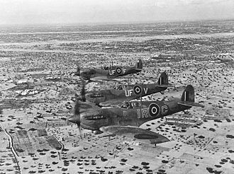 No. 601 Squadron RAF - Two 601 Sqn Spitfire Vb over Djerba Island in early 1943, led by W/Cdr. I.R. Gleed in his personal Spitfire marked IR-G.