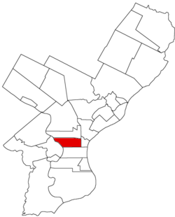 Map of Philadelphia County, Pennsylvania highlighting Spring Garden District prior to the Act of Consolidation, 1854