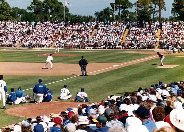 A 1994 Grapefruit League game at the LA Dodgers' former camp in Vero Beach, Florida Spring training.jpg