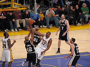 Bruce Bowen - Bowen (no. 12) contesting a layup in a game against the Los Angeles Lakers in 2007