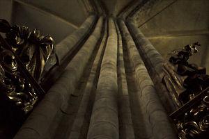 Distorted pillar of St. Vitus Cathedral, Prague.