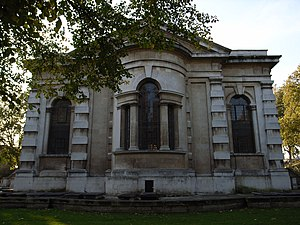 St Paul's, Deptford - Exterior of the apse with its unconventional convex Venetian window