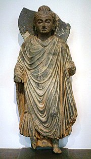 Standing Buddha, ancient region of Gandhara, northern Pakistan, 1st century AD, Musée Guimet.
