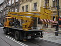 Star 1142-based cherry picker during Długa street reconstruction in Kraków (3).jpg