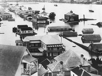 1893 Brisbane flood - South Brisbane during the 1893 flood.