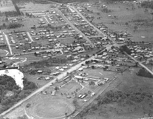 Beenleigh, Queensland - An aerial view of Beenleigh in 1954. (This is a mirror-image of the true aerial view.)