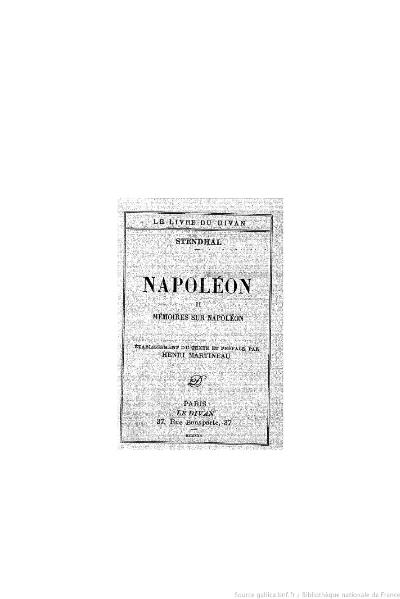 File:Stendhal - Napoléon, II, 1930, éd. Martineau.djvu