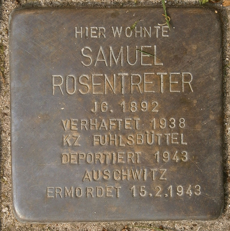 Stolperstein Behnstraße 17 (Samuel Rosentreter) in Hamburg-Altona-Altstadt.JPG