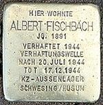 Stolperstein Leuckartstr 12 Albert Fischbach