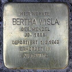 Photo of Bertha Wisla brass plaque
