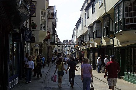 Stonegate is pedestrianised during the day Stonegate in York - geograph.org.uk - 1261035.jpg