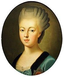 Die Ehefrau Luise, geborene Prinzessin von Hessen–Darmstadt, Gemälde von Johann Ludwig Strecker (um 1772/1773) (Quelle: Wikimedia)