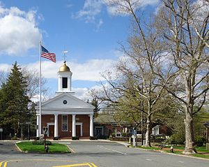Basking Ridge, New Jersey - Downtown area with Presbyterian church in distance