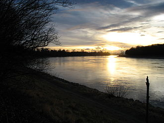 Upper Rhine - Sunset on the Rhine at Mannheim