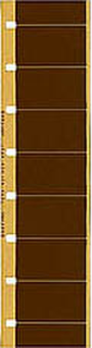 16 mm film - A strip of single perf 16 mm film with Super 16-sized frames.