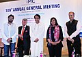 Suresh Prabhakar Prabhu and the Minister of State for Heavy Industries & Public Enterprises, Shri Babul Supriyo at the 109th Annual General meeting of the Indian Merchant Chamber, in Mumbai.jpg