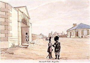 James Pattison Cockburn - View of entrance to the Tête-de-Pont Barracks (Fort Frontenac), Kingston, Ontario, ca. 1830.