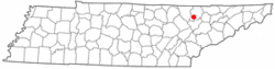 Location of Caryville, Tennessee