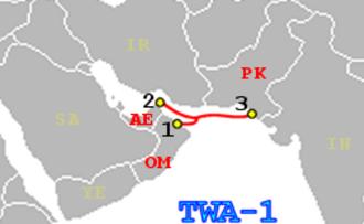 Telecommunications in Pakistan - TWA-1 telecommunications cable linking the United Arab Emirates, Oman, and Pakistan.