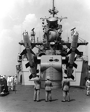USS Long Beach (CGN-9) - RIM-8 Talos missile launcher on USS Long Beach, July 1961
