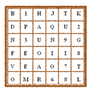 Grille (cryptography) - A grid filled with random letters and numbers surrounding a key word entered from a grille.