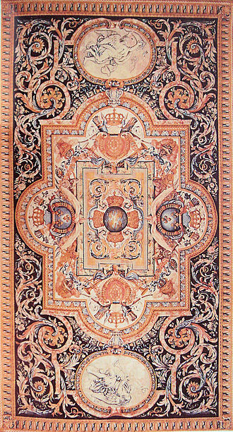 Savonnerie manufactory - Tapis de Savonnerie, under Louis XIV, after Charles Le Brun, made for the Grande Galerie in the Louvre.