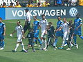 Teams come out at Galaxy at Earthquakes 2010-08-21 1.JPG