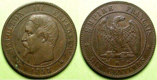 Ten centimes 1855