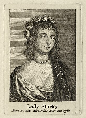 Teresa Sampsonia - Etching of Teresa, Lady Shirley, possibly late 18th century. Made after an illustration by van Dyck.