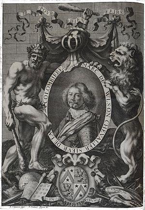 Marcus Vulson de la Colombière -  The portrait of Vulson de la de la Colombière from his book La science Héroïque (Paris, 1644). Engraved by Robert Nanteuil after the drawing of François Chauveau.