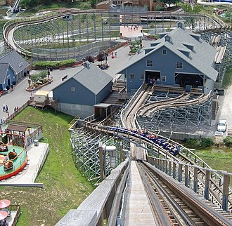 The Voyage (roller coaster) - The Voyages station, maintenance area, and transfer track (rightmost building), gift shop (building to the left of the station), and brake runs (behind the station), as seen from the roller coaster's lift hill.