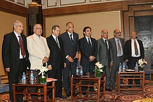 Moroccan general election, 2011 - The eight leaders of the coalition for democracy