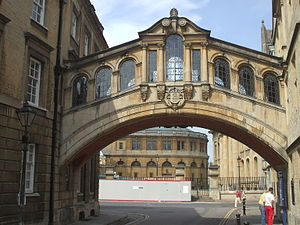 Bridge of Sighs (Oxford) - Hertford Bridge, looking towards Catte Street, with the Sheldonian Theatre in the background