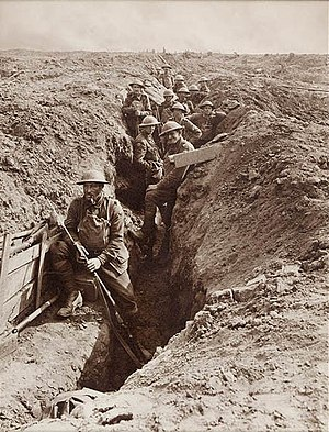 Front line - Australians in a front-line trench during World War I. Photograph taken by Capt. F. Hurley, sometime between August 1917 and August 1918.