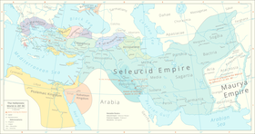 The Seleucid Empire (light blue) in 281 BC on the eve of the murder of Seleucus I Nicator