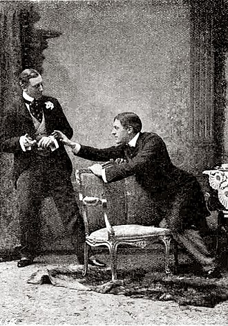 The Importance of Being Earnest - The original production of The Importance of Being Earnest in 1895 with Allan Aynesworth as Algernon (left) and George Alexander as John (right)
