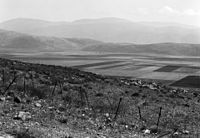 The Jordan Valley north of Lake Galilee Hasbany Valley and Hermon looking down from French Metulla post.jpg