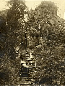 Black and white photo of a group of adults sitting in a coal skip halfway down a very steep and rickety looking railway. Staged photo taken from below with railway receding up the hill behind the group.