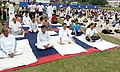 The Minister of State for Human Resource Development, Shri Upendra Kushwaha performing Yoga along with other participants, on the occasion of the 2nd International Day of Yoga – 2016, at CMS High School, Bhagalpur, Bihar.jpg