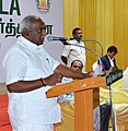 The Minister of State for Road Transport & Highways and Shipping, Shri P. Radhakrishnan addressing the gathering at the DigiDhan Mela programme, in Madurai, Tamil Nadu on March 12, 2017.jpg