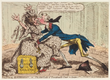 "Satirical cartoon protesting against the introduction of paper money, by James Gillray, 1797. The ""Old Lady of Threadneedle St"" (the Bank personified) is ravished by William Pitt the Younger. The Old Lady of Threadneedle St.png"