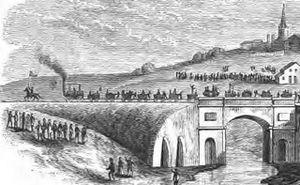 Stockton and Darlington Railway - The opening procession of the Stockton and Darlington Railway crosses the Skerne bridge