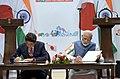 The Prime Minister, Shri Narendra Modi and the Prime Minister of Japan, Mr. Shinzo Abe at the joint press statement, during 12th India Japan Annual Summit, at Mahatma Mandir, in Gandhinagar, Gujarat on September 14, 2017 (3).jpg