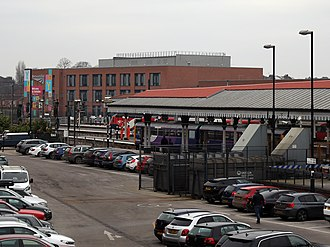 York Rail Operating Centre - Image: The ROC at York (Brick building in the distance) with an LNER train (red and white) and a northern train in the foreground