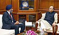 The Union Minister for Finance, Corporate Affairs and Defence, Shri Arun Jaitley in one-to-one talks with the Minister of National Defence, Canada, Mr. Harjit Singh Sajjan, in New Delhi on April 18, 2017.jpg