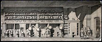 Ambrose Godfrey - Etching of Abrose Godrey's chemical laboratory
