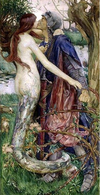 Lamia - The Kiss of the Enchantress (Isobel Lilian Gloag, ca. 1890), inspired by Keats' Lamia, depicts Lamia as a half-serpent woman