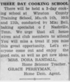Three Day Cooking School (Advertisement) - Louisville, Mississippi - 6 March 1931.png