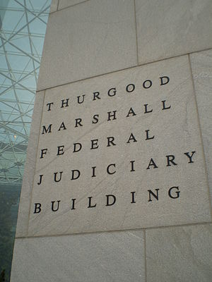 Thurgood Marshall Federal Judiciary Building - Front sign