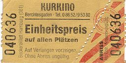 An unseparated ticket for the Kurkino in Berchtesgaden (2005 or earlier) Ticket (unseparated) Kurkino-Berchtesgaden.JPG